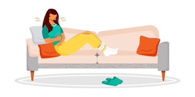 摄图网_303704437_患有胃痛月经抽筋沙发上一段时间的女童疾病症状孤立的漫画插图(企业商用).jpg