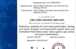 鲁润阿胶喜提ISO14001环境管理体系认证证书