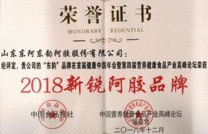 """东韵阿胶被评为""""2018年新锐阿胶品牌"""""""